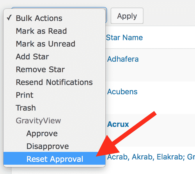 "There's a new ""Reset Approval"" Bulk Action dropdown option"