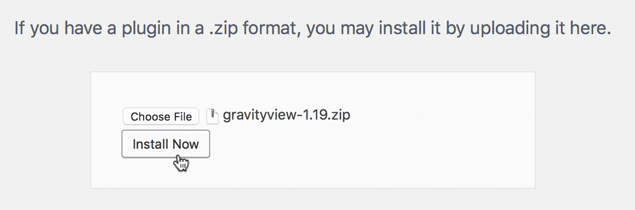 The Install Now button on the GravityView Plugin page