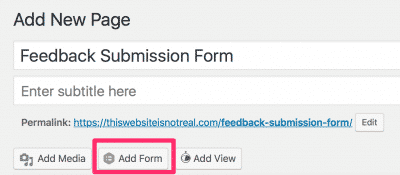 Add Form button, beneath the title bar.