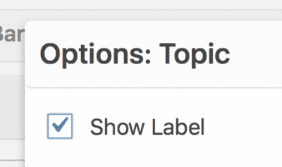 Show Label checkbox setting