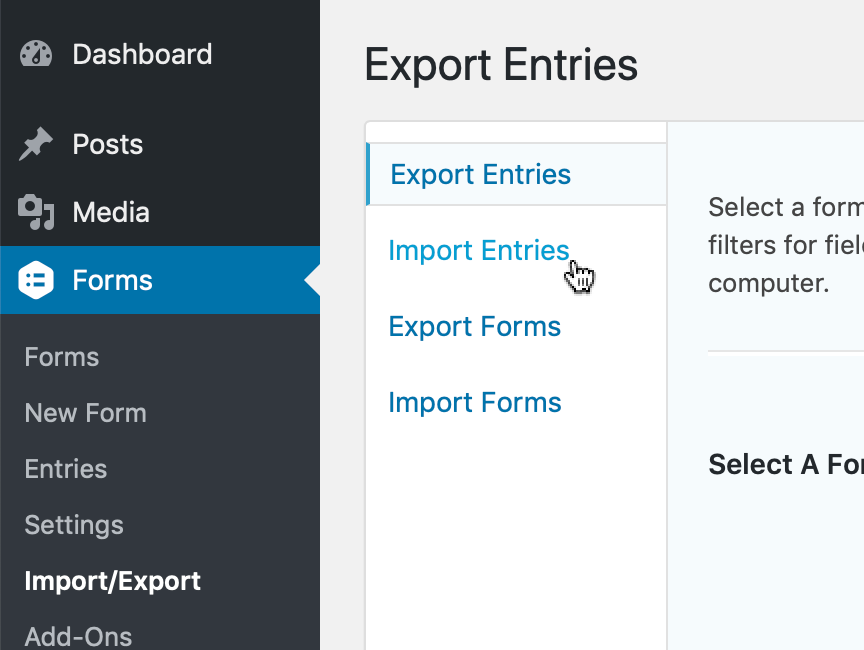 Click Import Entries