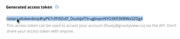 """Copy the """"Generated access token"""" value"""