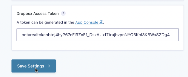 """Paste the token value into the """"Dropbox Access Token"""" field, then click the Save Settings button."""