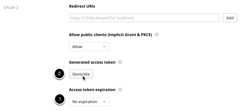 """Under the """"OAuth 2"""" section, set """"Access token expiration"""" to """"No Expiration"""", then click Generate."""