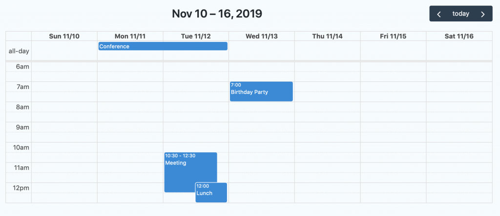 Calendar showing Gravity Forms entries in a list layout